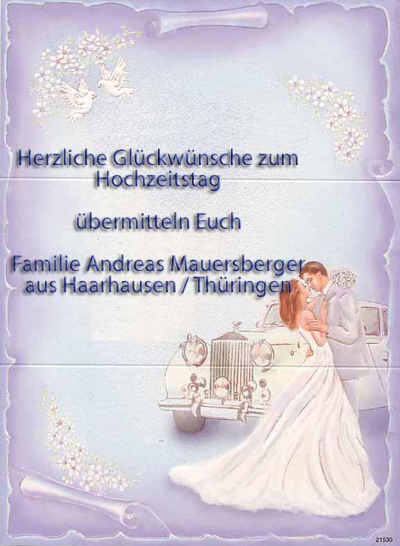 Herzliche Glückwünsche zum Hochzeitstag